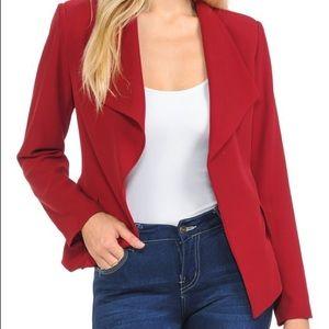 Draped Red Blazer
